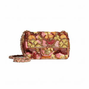Chanel Pink/White/Yellow/Orange Sequins/Mixed Fibers/Glass Pearls Mini Flap Bag