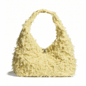 Chanel Yellow Tweed/Lambskin Large Hobo Bag