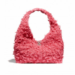 Chanel Coral Tweed/Lambskin Small Hobo Bag