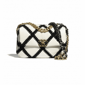 Chanel White/Black Calfskin/Crochet Chanel 19 Flap Bag