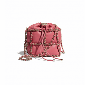 Chanel Coral Lambskin Small Drawstring Bag