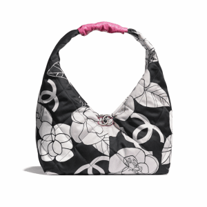 Chanel White/Black/Pink Cotton Canvas Small Hobo Bag
