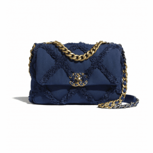 Chanel Navy Blue Cotton Canvas/Calfskin Chanel 19 Flap Bag