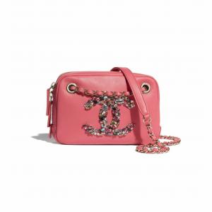 Chanel Coral Lambskin/Crystal Camera Case Bag