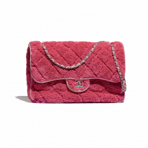 Chanel Coral Mixed Fibers Large Flap Bag