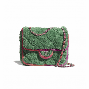 Chanel Green Mixed Fibers Mini Flap Bag
