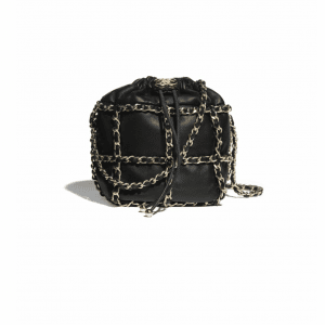 Chanel Black Lambskin Small Drawstring Bag
