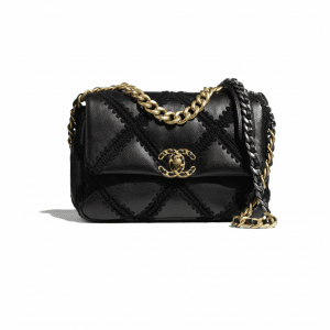 Chanel Black Calfskin/Crochet Chanel 19 Flap Bag