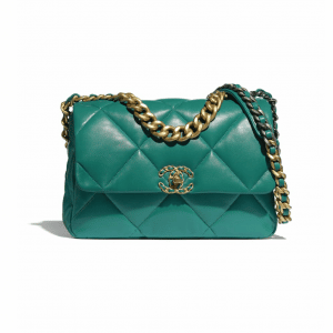 Chanel Green Lambskin Chanel 19 Large Flap Bag