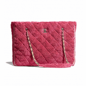 Chanel Coral Mixed Fibers Large Shopping Bag