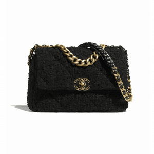 Chanel Black Tweed Chanel 19 Large Flap Bag