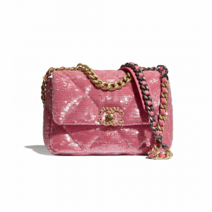 Chanel Coral Sequins/Calfskin Chanel 19 Flap Bag