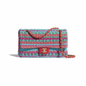 Chanel Red/Fuchsia/Blue Cotton/Mixed Fibers Flap Bag