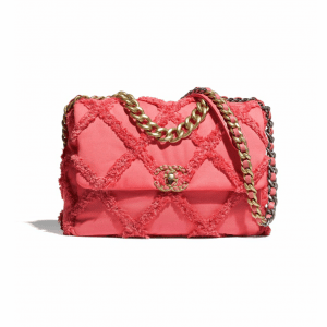 Chanel Coral Cotton Canvas/Calfskin Chanel 19 Large Flap Bag