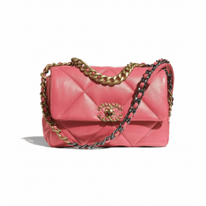 Chanel Coral Lambskin Chanel 19 Flap Bag