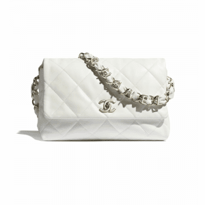 Chanel White Lambskin Large Flap Bag