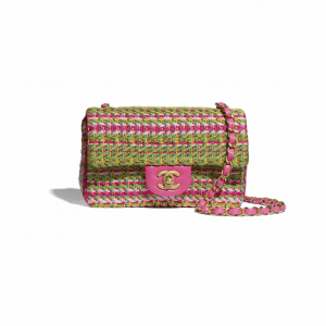 Chanel Fuchsia/Pale Rose/Green/Turquoise/Yellow Cotton/Mixed Fibers Mini Flap Bag