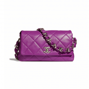 Chanel Purple Lambskin Flap Bag