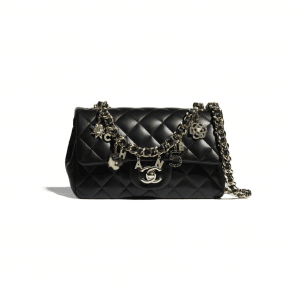 Chanel Black Coco Charms Flap Bag