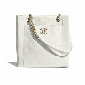 Chanel White Calfskin Small Shopping Bag