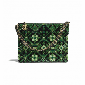 Chanel Green/Black Sequins Clutch Bag