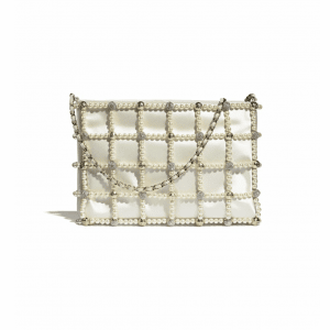 Chanel White Satin/Glass Pearls/Strass Clutch Bag
