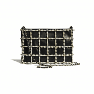 Chanel Black Lambskin/Calfskin/Glass Pearls/Strass Clutch Bag