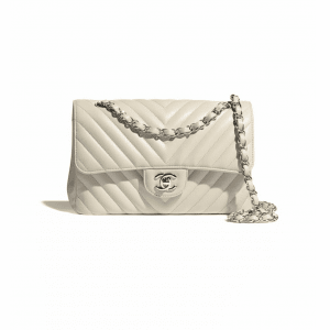 Chanel Beige Chevron Small Classic Flap Bag