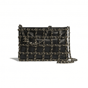 Chanel Black Lambskin Clutch Bag