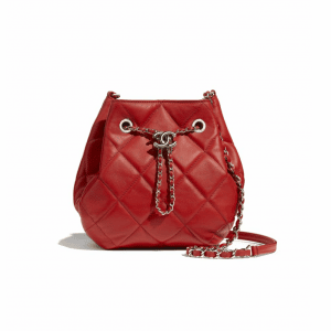 Chanel Red Lambskin Mini Drawstring Bag