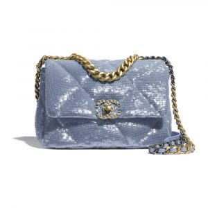 Chanel Sky Blue Sequins/Calfskin Chanel 19 Flap Bag