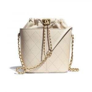 Chanel Beige Lambskin Large Drawstring Bag