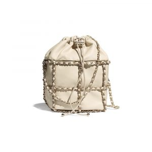 Chanel Beige Lambskin Drawstring Bag