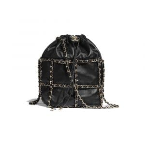 Chanel Black Lambskin Drawstring Bag
