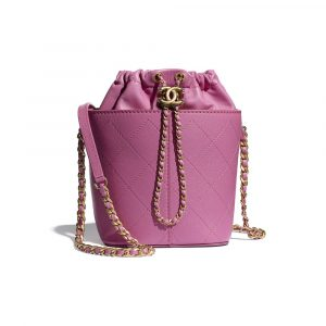 Chanel Pink Grained Lambskin Drawstring Bag