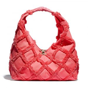 Chanel Coral Cotton Canvas Large Hobo Bag