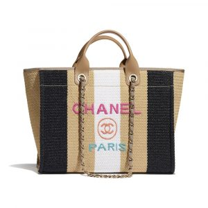 Chanel Beige/Black/Ivory Viscose/Cotton/Calfskin Deauville Large Shopping Bag