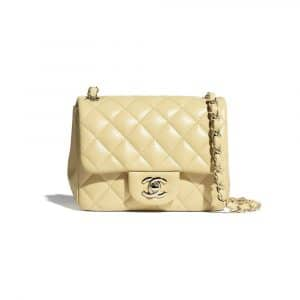 Chanel Yellow Lambskin Mini Classic Flap Bag