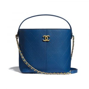 Chanel Blue Grained Lambskin Small Shopping Bag