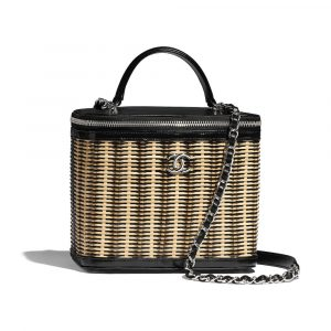 Chanel Beige/Black Rattan/Calfskin Vanity Case Bag