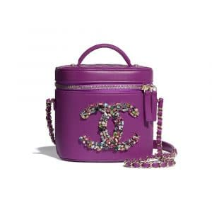 Chanel Purple Lambskin and Crystal Vanity Case Bag