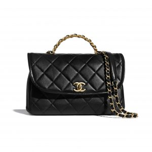 Chanel Black Lambskin/Shiny Crumpled Calfskin Large Flap Bag with Top Handle