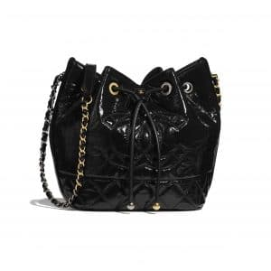 Chanel Black Shiny Aged Calfskin Drawstring Bag