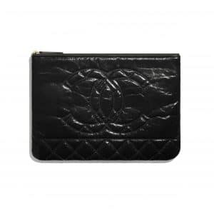 Chanel Black Shiny Aged Calfskin Pouch