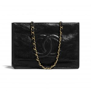 Chanel Black Shiny Aged Calfskin Shopping Bag