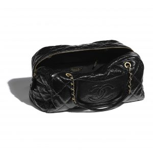 Chanel Black Shiny Crumpled Calfskin Large Bowling Bag