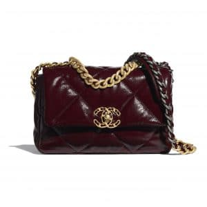 Chanel Burgundy Shiny Crumpled Calfskin Chanel 19 Flap Bag