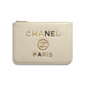 Chanel Ecru Shiny Calfskin Deauville Pouch