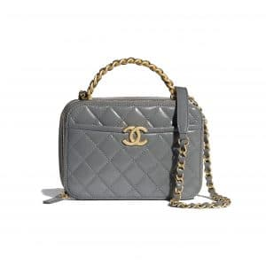 Chanel Gray Lambskin/Shiny Crumpled Calfskin Vanity Case Bag
