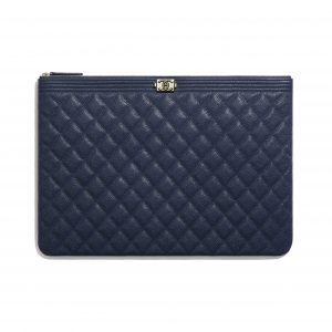 Chanel Navy Blue Grained Shiny Calfskin Boy Chanel Large Pouch